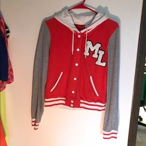 Red and Gray Letterman Jacket
